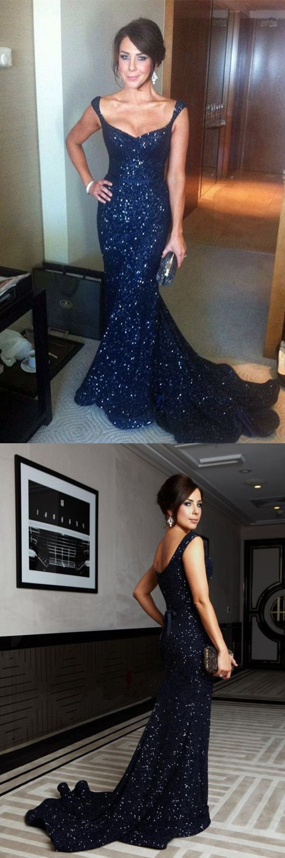 Navy blue sequin vneck mermaid evening gowns court train prom dress