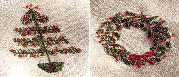 Christmas Wreath And Christmas Tree Embroidery Design Free