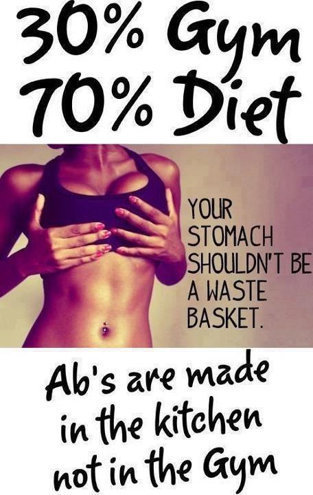 Para verte bien no sólo debes hacer ejercicio, debes comer bien!, los abdominales no se hacen en el gimnasio, se hacen en la cocina