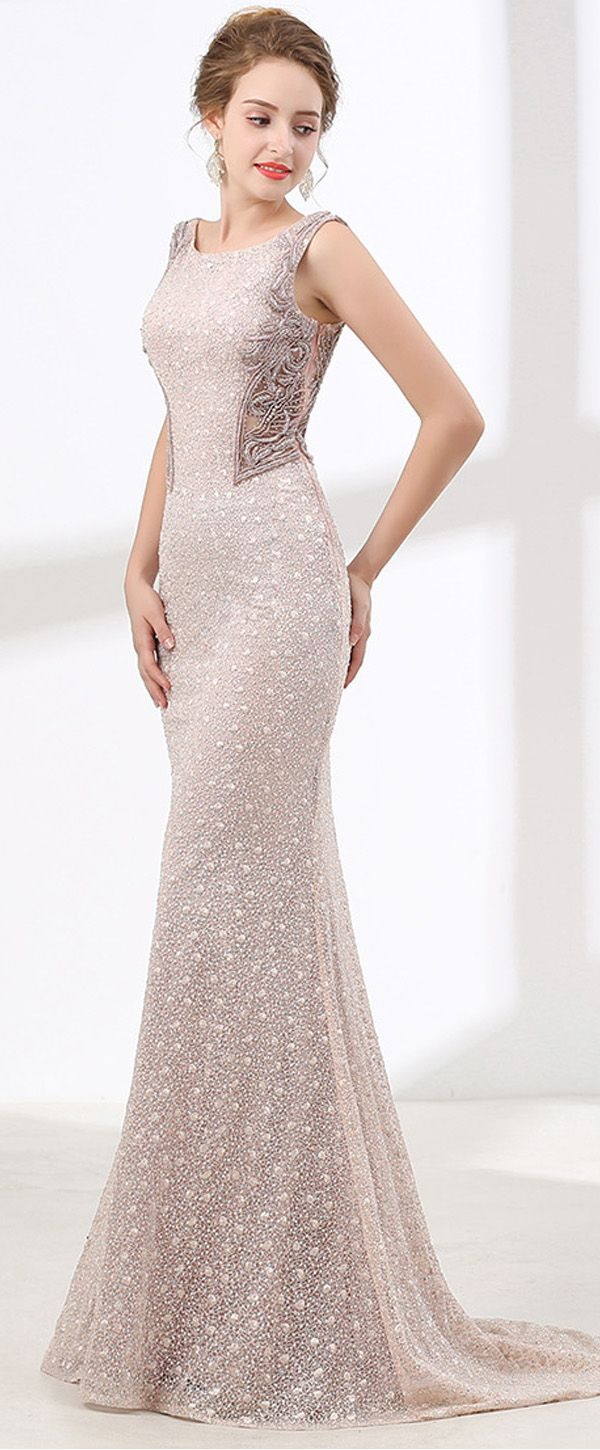 Wedding dresses with rhinestones  Splendid Lace Scoop Neckline Mermaid Evening Dress With Beadings
