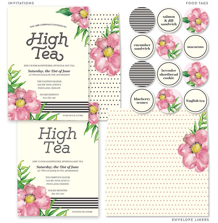 Printable High Tea Party Invitations | Tea party invitations, Food ...