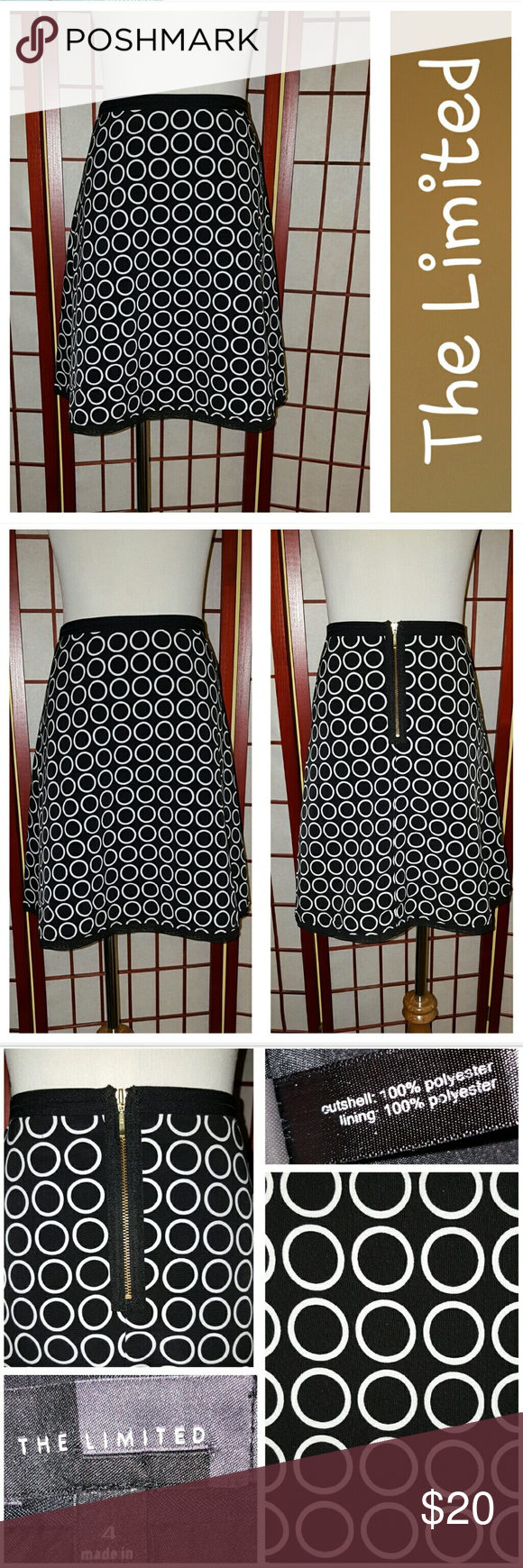The Limited Skirt! Super cute a line skirt from The Limited.  Black with white circles.  Exposed back zipper.  Fully lined.  Black lace detail at hemline.  Sz 4.  Waist 28in, length 18in.  EUC.  No stains or tears.  From smoke free home. The Limited Skirts A-Line or Full