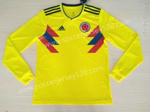2018 World Cup Colombia Home Yellow Thailand LS Soccer Jersey AAA ... e0af381de