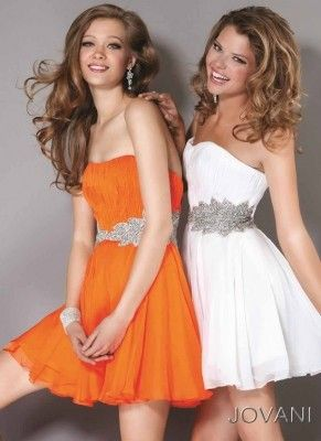 cocktailkleid in orange oder weiss  schicke kleider homecoming kleider cocktailkleid
