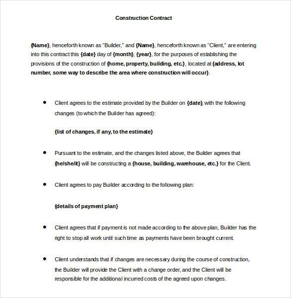 Printable Construction Contract Templat Word Format   Simple