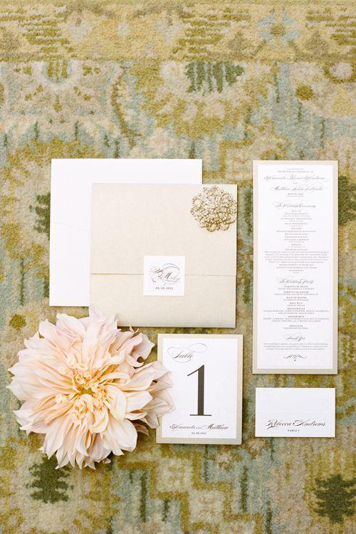 Gold and Cream Wedding Invitations by Jen Simpson Design