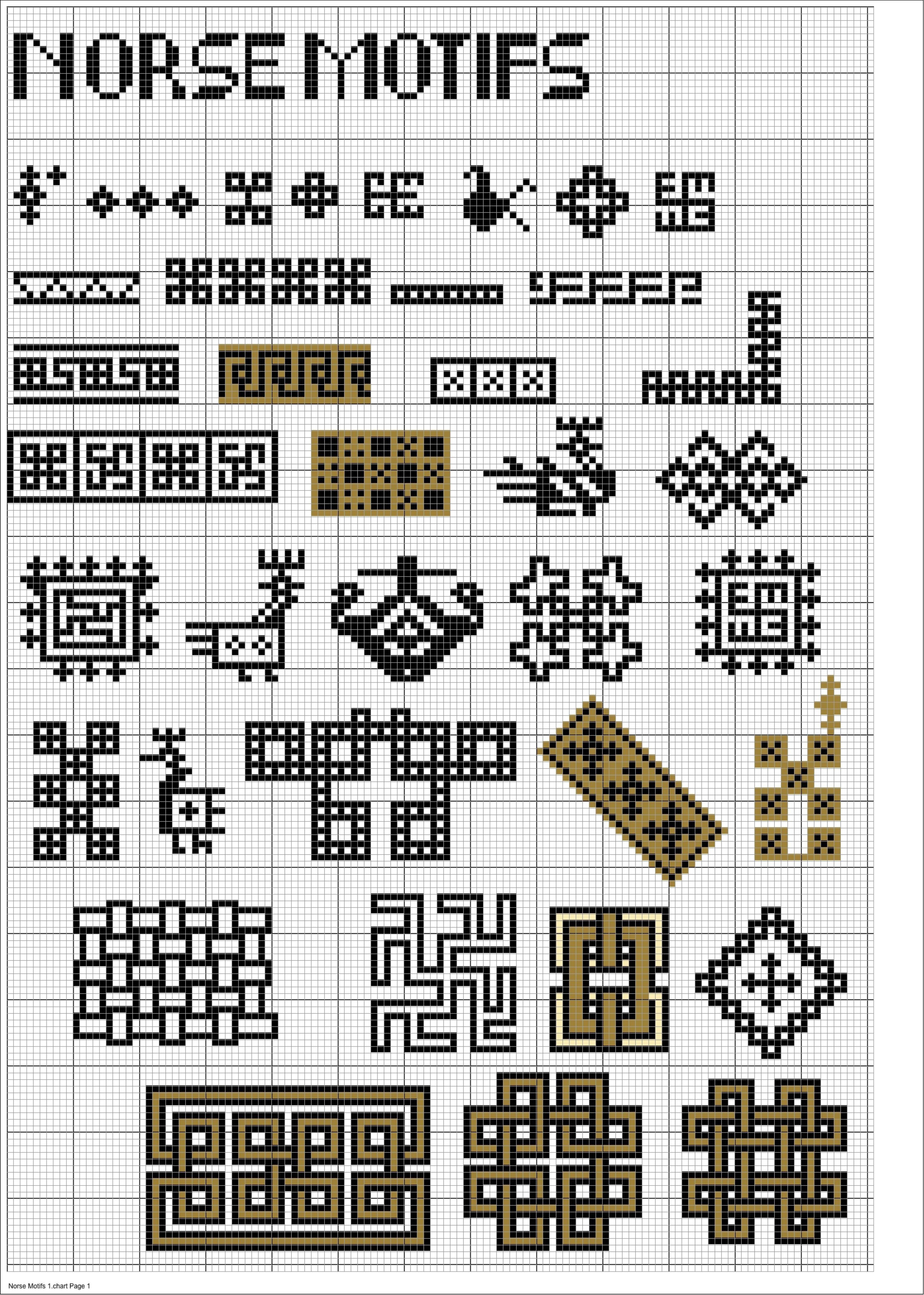Charted Norse Motifs Stitching Pinterest Norse Symbols Cross