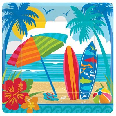 Amscan Summer Sun And Surf Square Paper Dinner Plate Beach