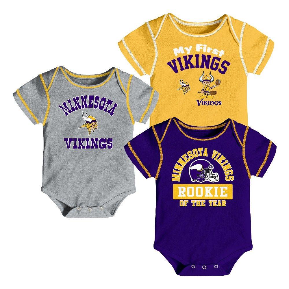 6bb15b81674 Minnesota Vikings Boys' Newest Fan 3pk Bodysuit Set 12 M, Size: 12M,  Multicolored