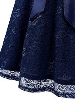 ivnis rs90025 damen Ärmellos vintage spitzen abendkleider cocktail party floral kleid navy blue