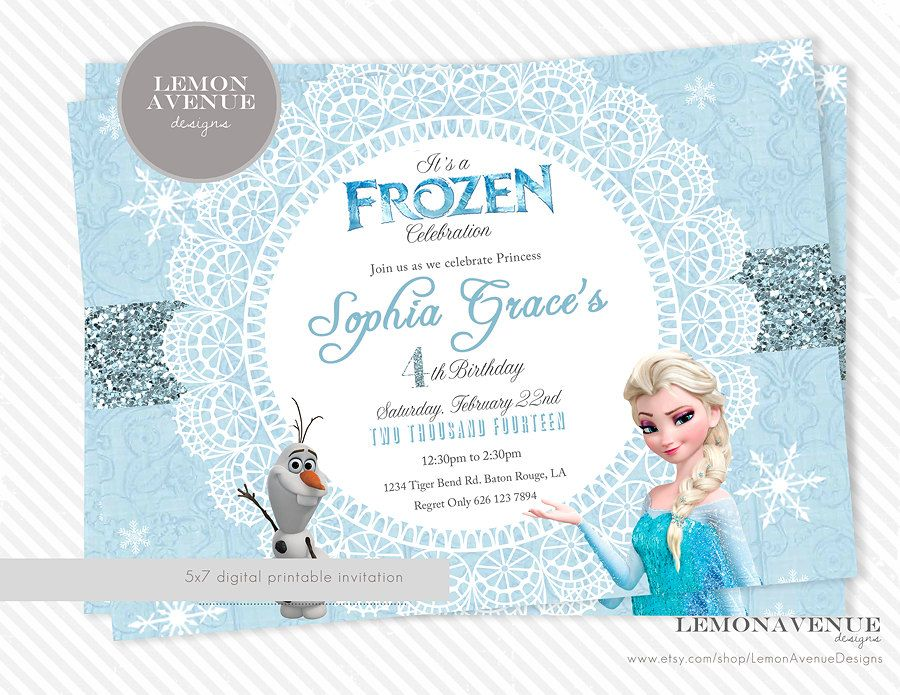 Frozen Invitation Custom Frozen Invitation by LemonAvenueDesigns - invitation birthday frozen