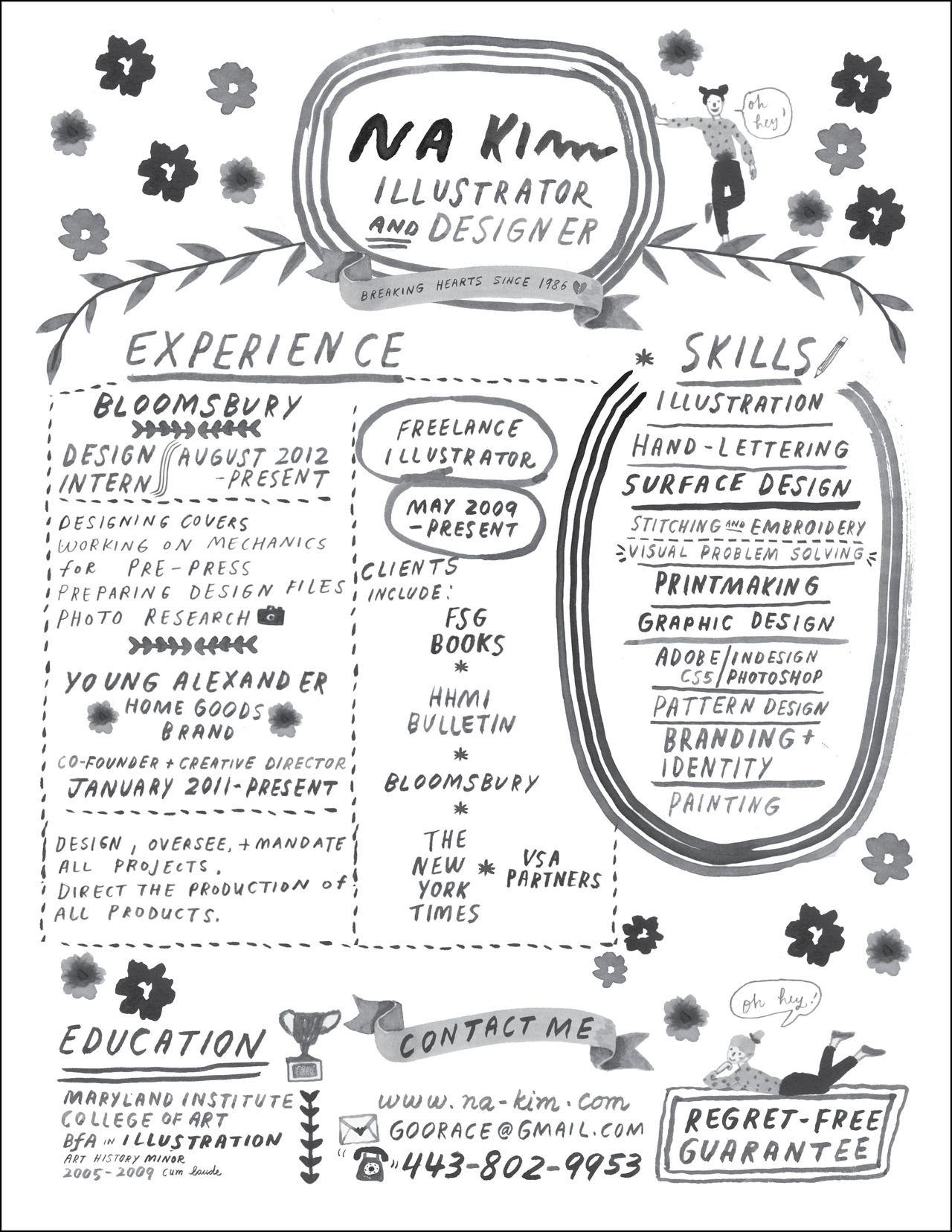 Hand Lettered Resume Design Pinterest
