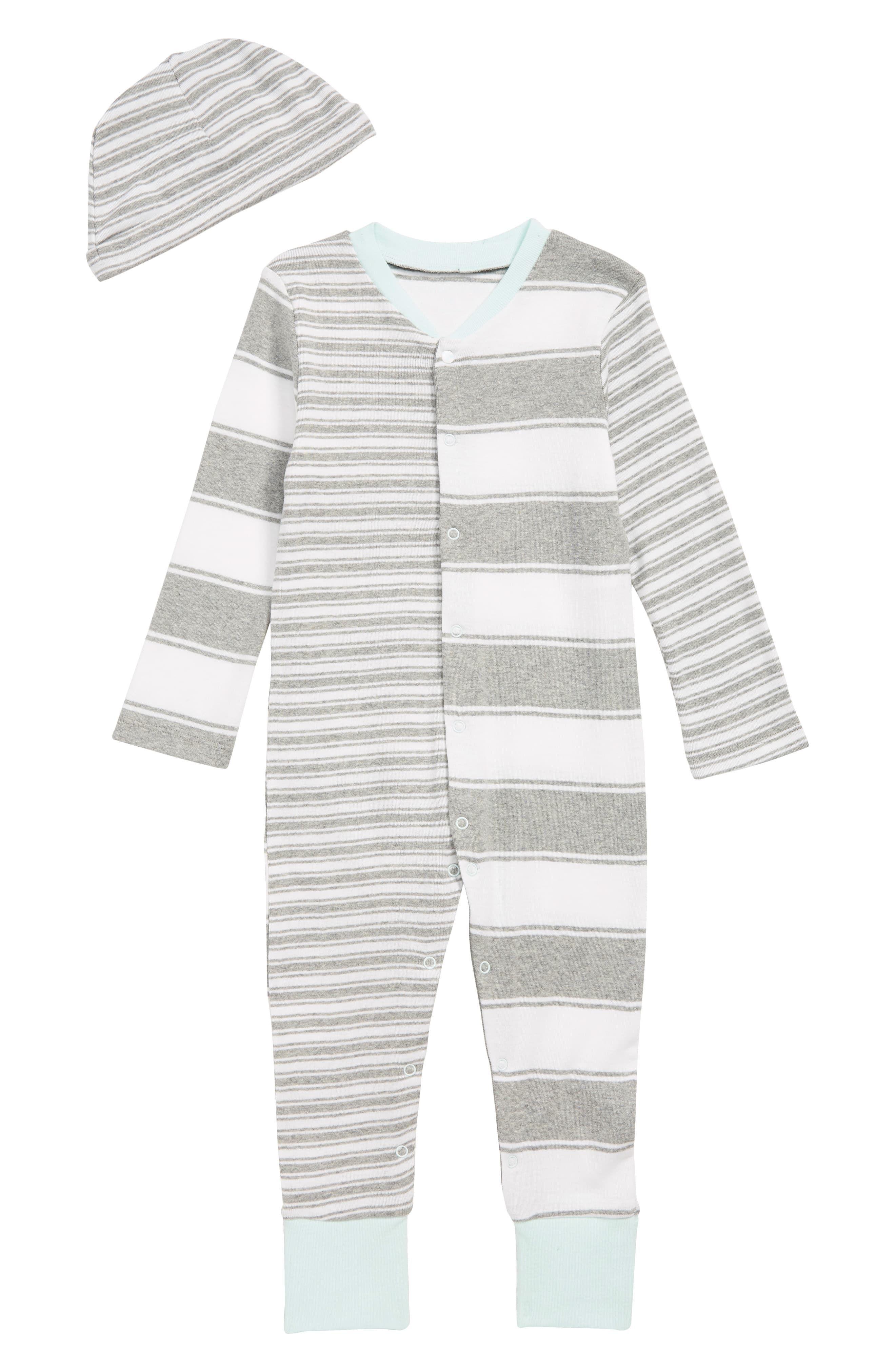 31d27e8c4eccf Infant Boy's Burt'S Bees Baby Peace Stripe Organic Cotton Romper & Hat Set,  Size 24M - Grey