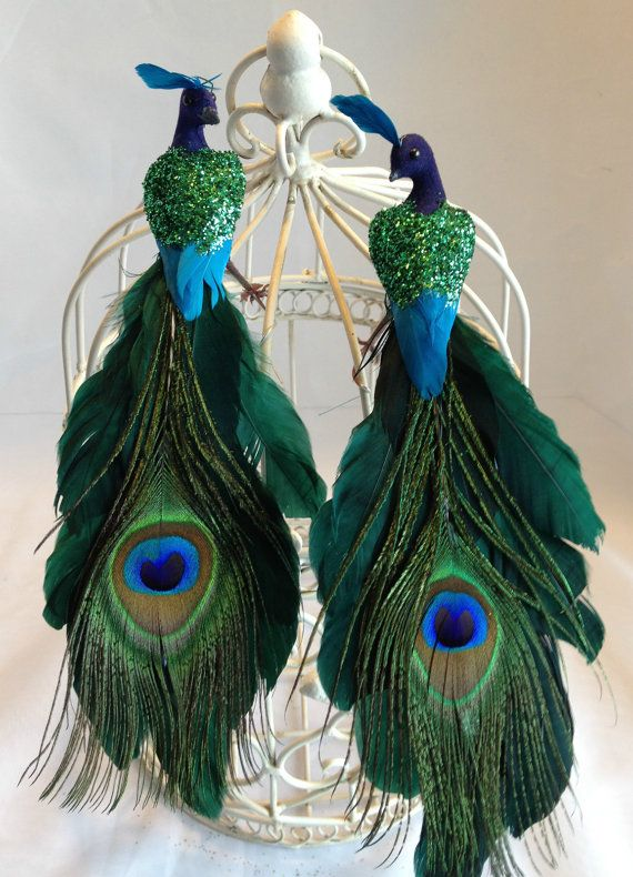 Christmas 2 Green Peacock Ornament Tree Topper Decoration Tree