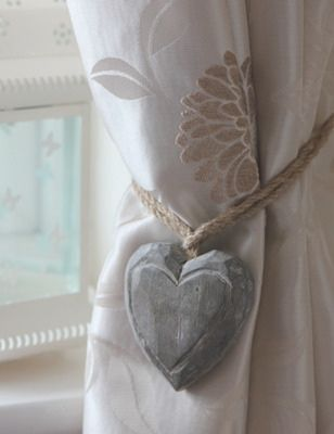Curtain Tie Back Ideas | Wooden heart curtain tie-backs pair only ...
