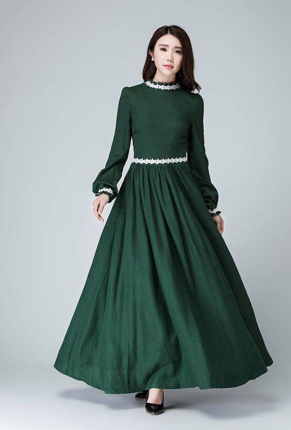 bf5f3b71b49 Maxi dress green linen dress women prom dress white by xiaolizi ...