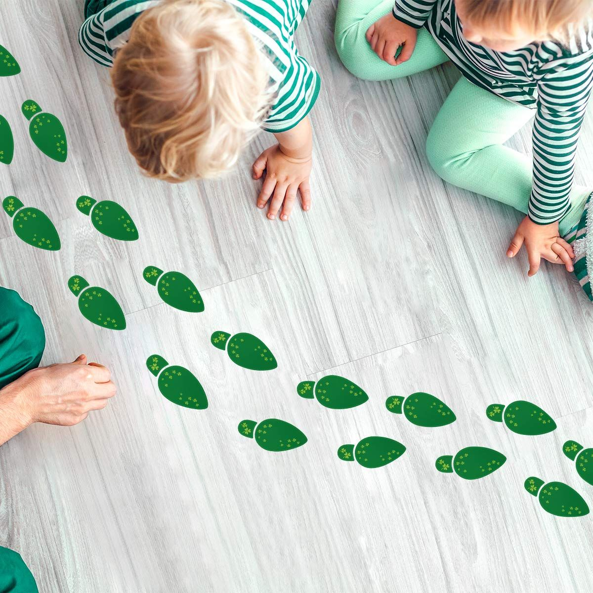 St Patricks Day Decorations Leprechaun Footprint Floor Clings Stickers Removable Shamrock Foot Stickers For Wi Party Favor Supplies Cling Stickers Floor Decal