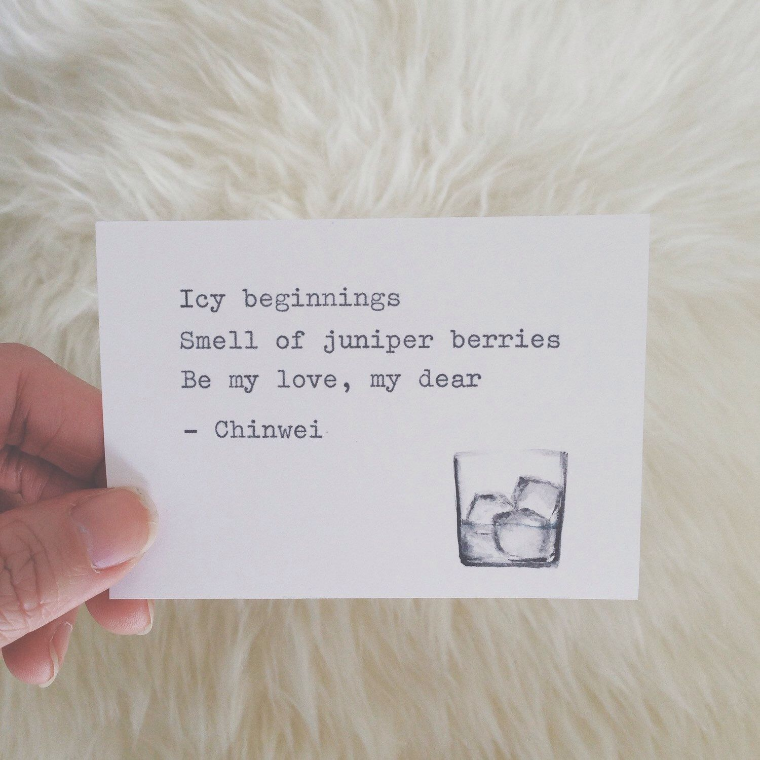 Gin and tonic love haiku poem. Unique, one of a kind