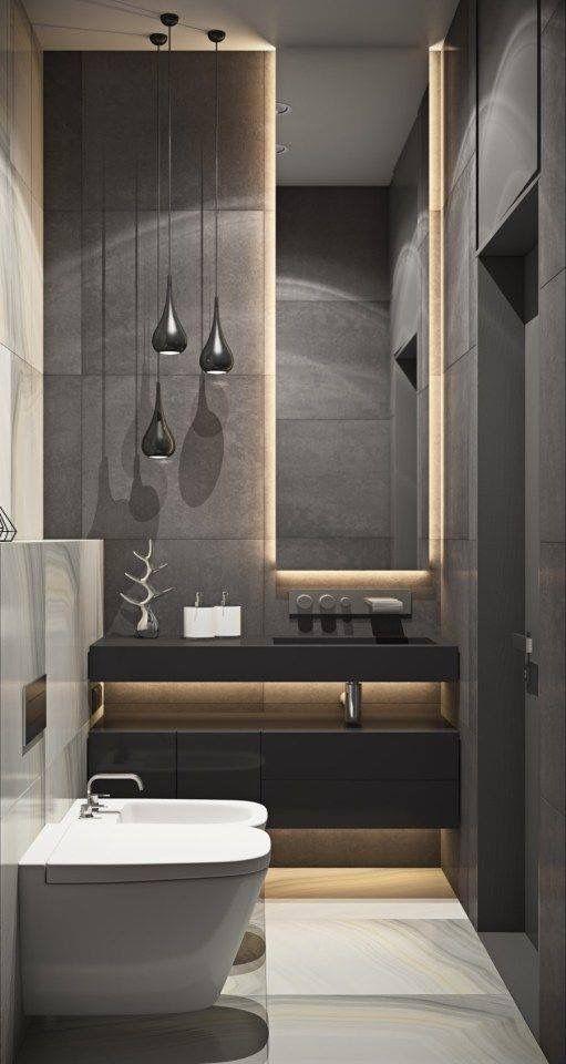 Banheiro lavabo - igual posição pia, luzes pêndulo - cor cinza - led