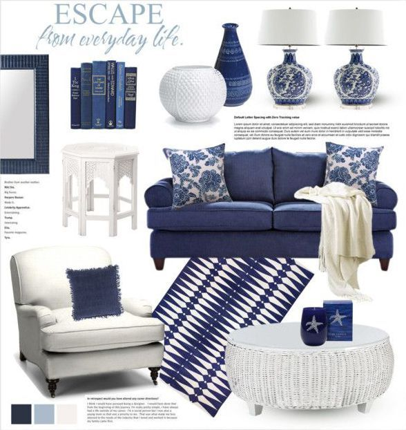 Navy And White Board Batten Living Room Design: Home, Garden & Decor