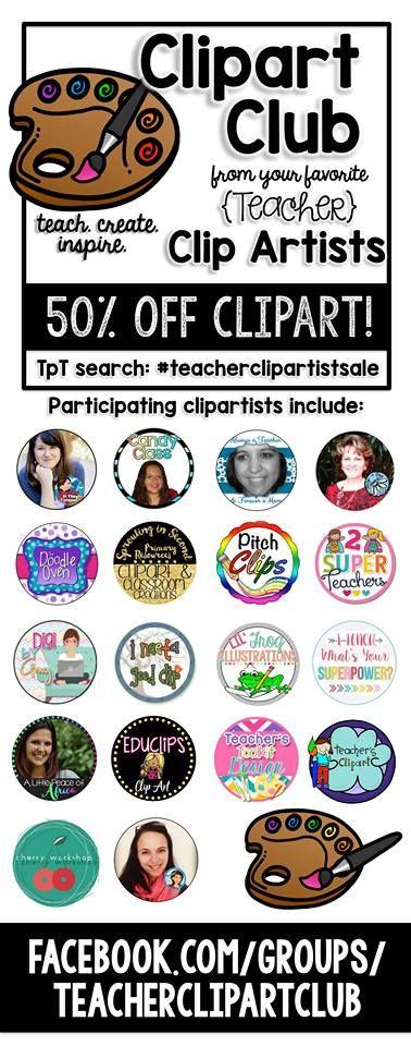 Teacher Clipartists unite iin this 50% off sale! Cheers!