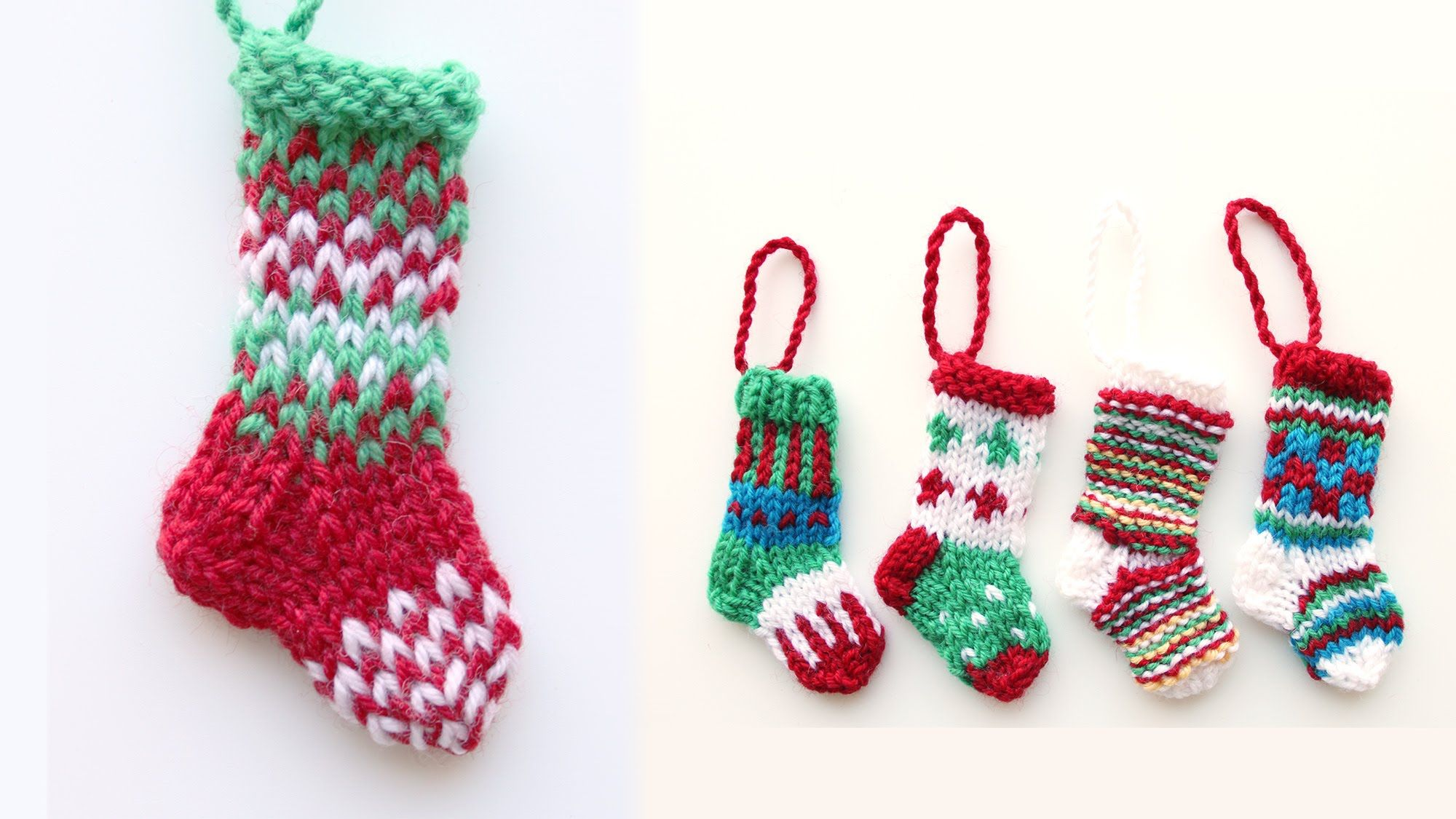 Step by step tutorial for knitting a mini Christmas stocking in the ...