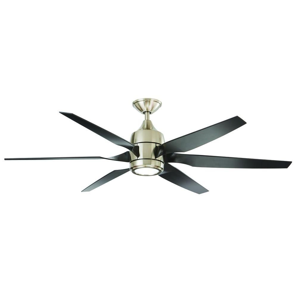 Home Decorators Collection Kelbra 60 In. LED Indoor Brushed Nickel Ceiling  Fan With Light Kit