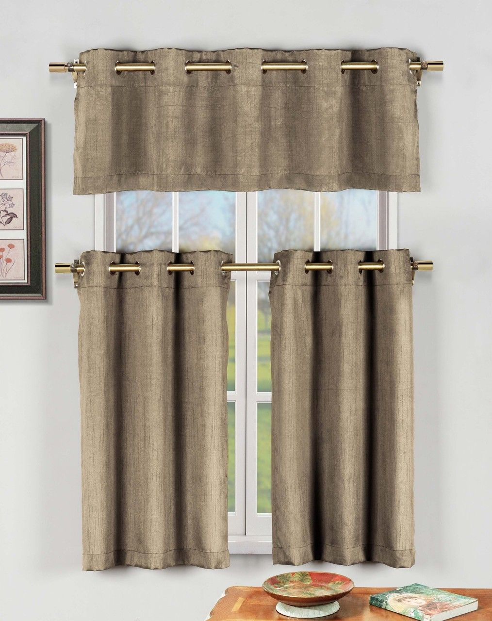 Taupe 3 Pc Kitchen Window Curtain Set With Silver Metal
