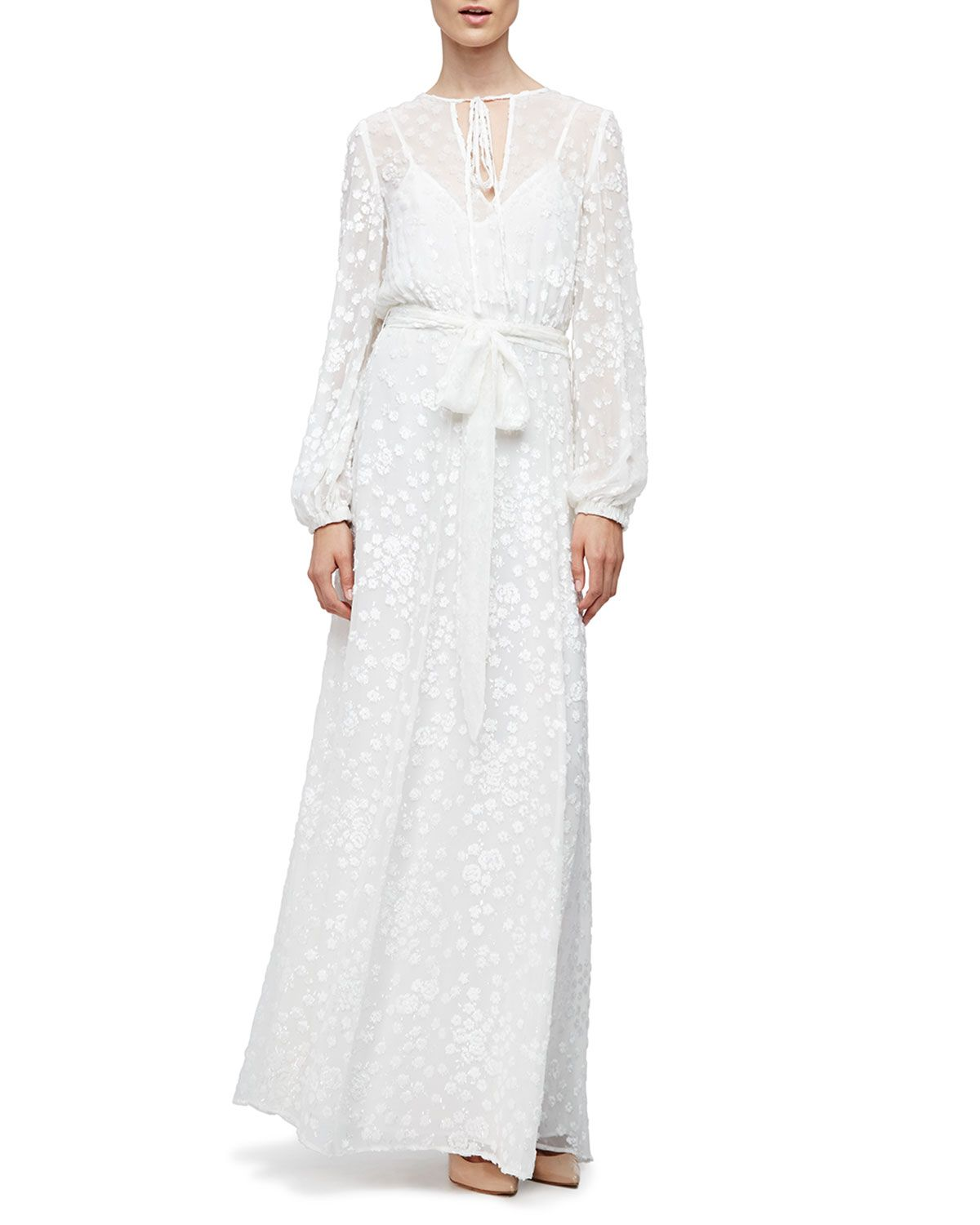 Longsleeve floralembroidered maxi peasant dress white white