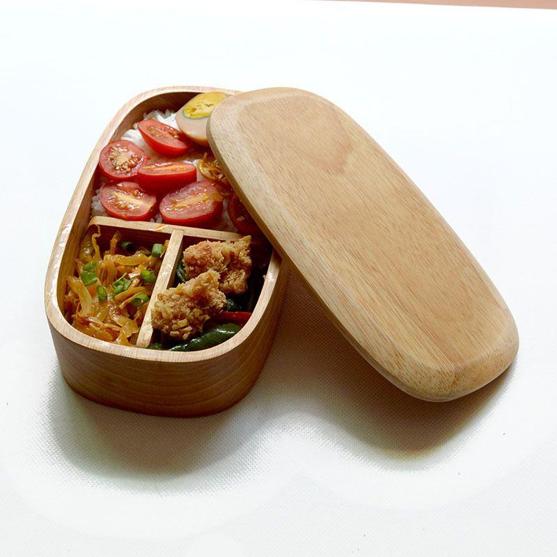 BXT Cajas de comida Bento de madera con bandeja y soporte ideal para llevar y para estudiantes para conservaci/ón de alimentos