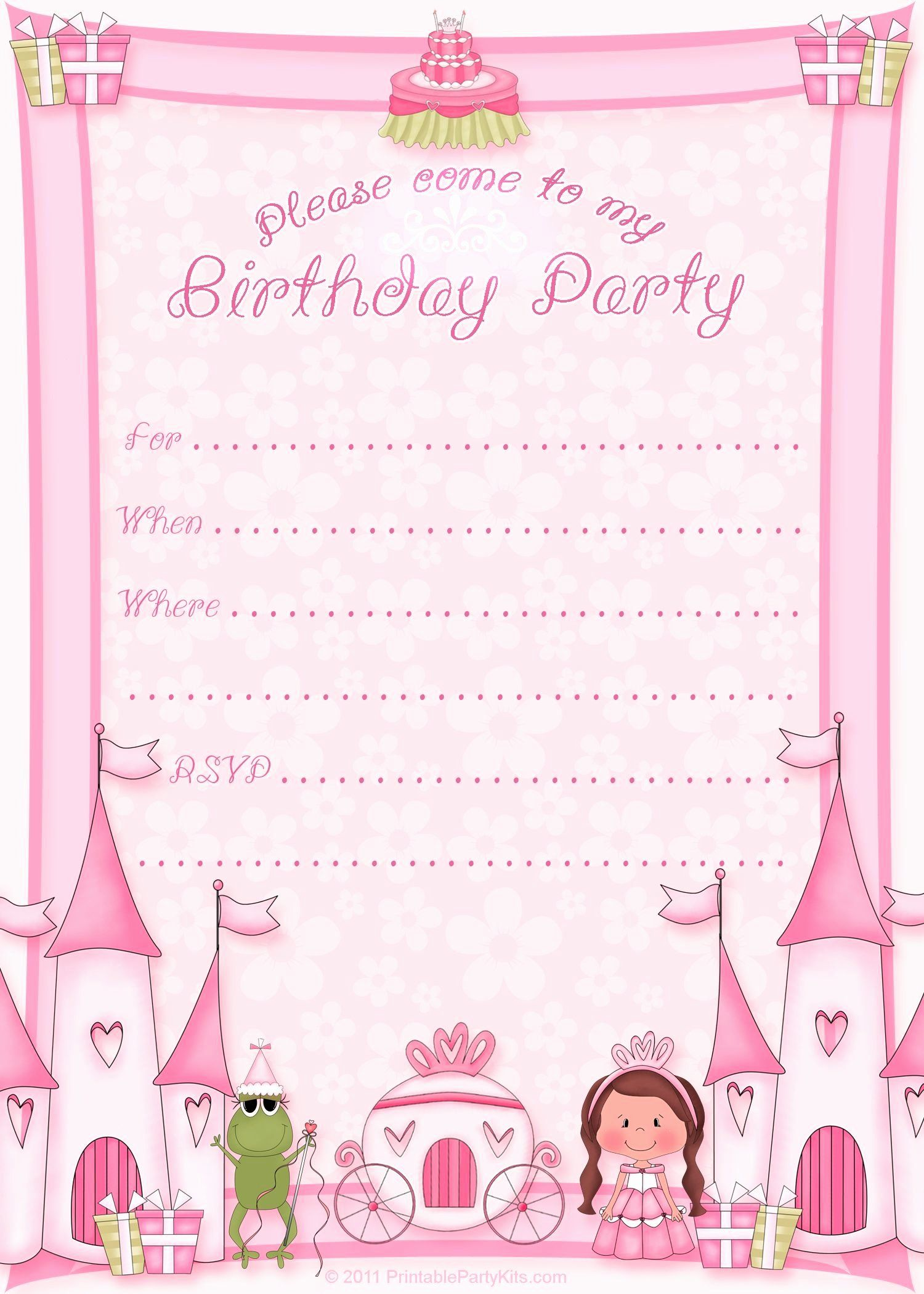 Princess Birthday Party Invitations Awesome Free Printabl Birthday Invitation Card Template Free Birthday Invitation Templates Free Printable Party Invitations
