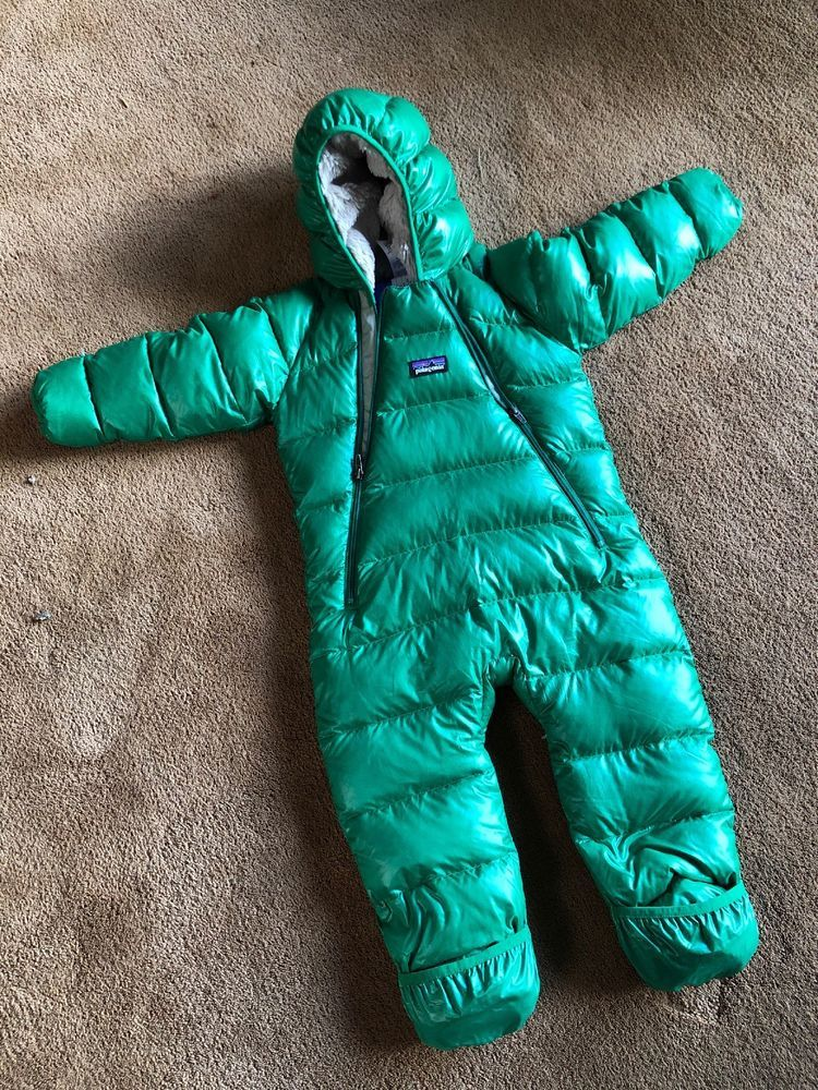 Patagonia Baby Hi Loft Down Puffy Snowsuit 12m Green