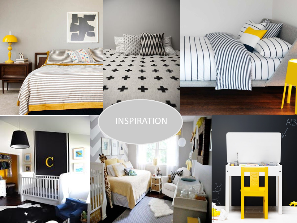 Grey White And Black Yellow Childrens Room Collage Inspiration Boys Room Colors Apartment Decorating College Bedroom Black Boy Room