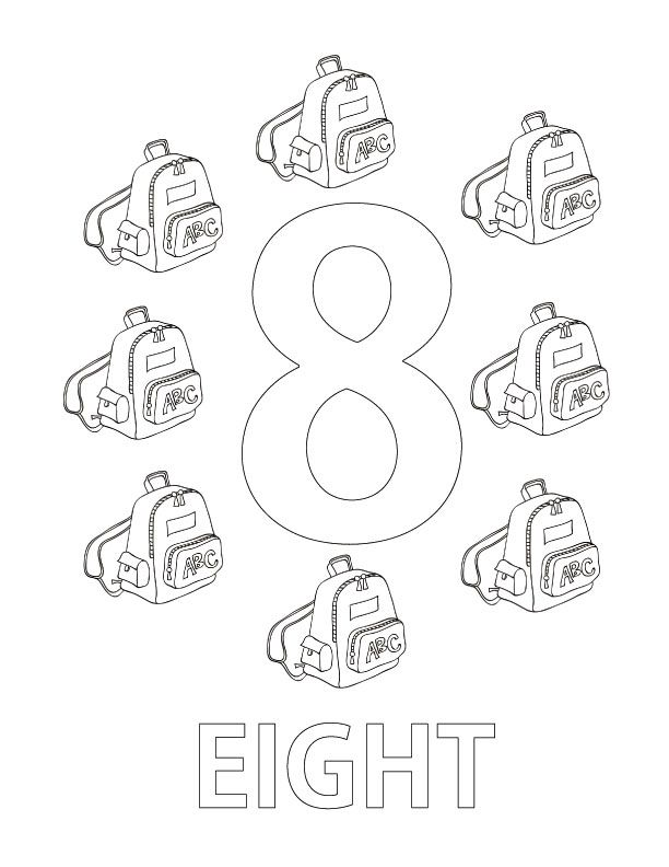 Numbers Coloring Page Number Eight Coloring Page Coloring