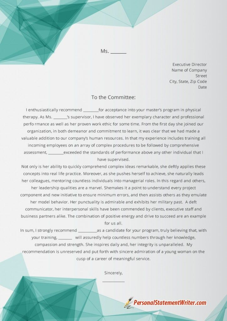 If you are looking for an outstanding letter of recommendation - personal statement sample