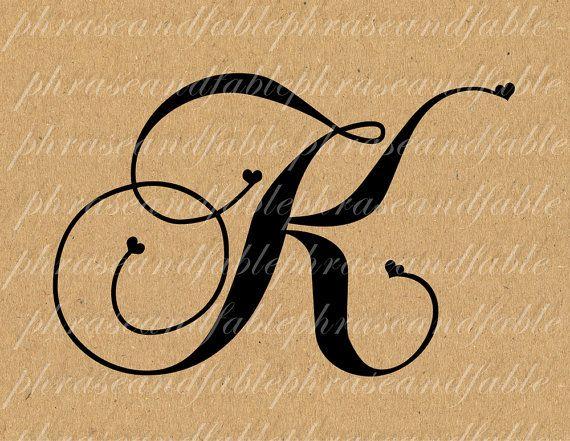 Letter K Hearts 281 Digital Download Alphabet Initial Name