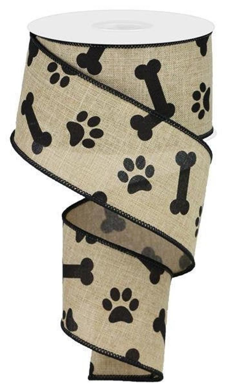 Wired Ribbon By the Roll Red and Black Dog Paw Print and Bone Theme 2.5 X 10 Yards for Wreaths Gift Wrapping Floral Arrangements