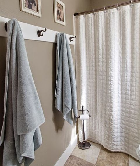 I Have Loved Having Towel Hooks In Our Master Bathroom What Do You Use Hooks Or A Towel Bar M With Images Bathroom Towel Hooks Bathroom Towel Decor Bathroom Door Hooks