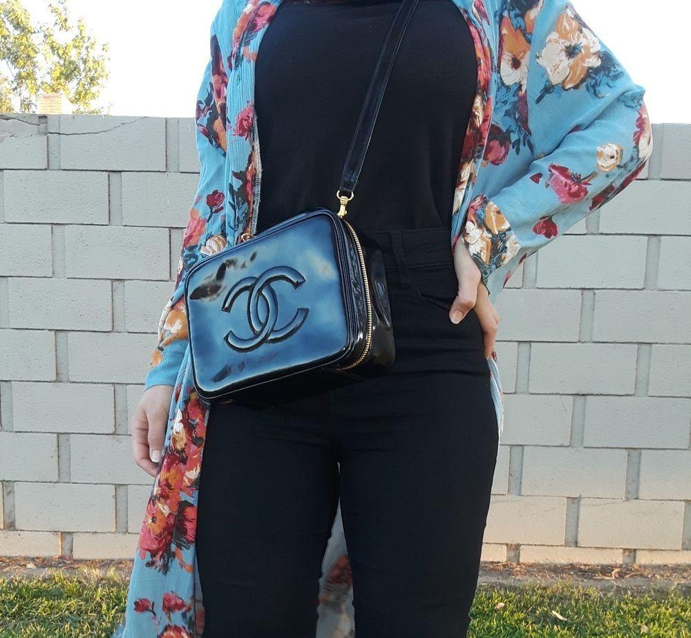 d34a978ebae7 Chanel Patent Leather Vanity bag box vintage kourtney kardashian | eBay