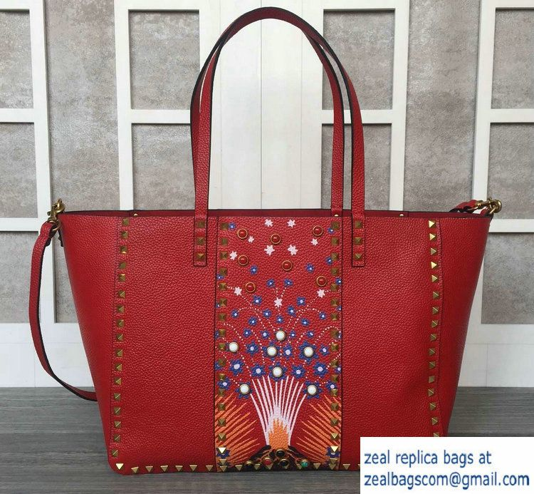 e982582e90 Valentino Tribal Hand-Painted Rockstud Tote Large Bag Red 2016 ...
