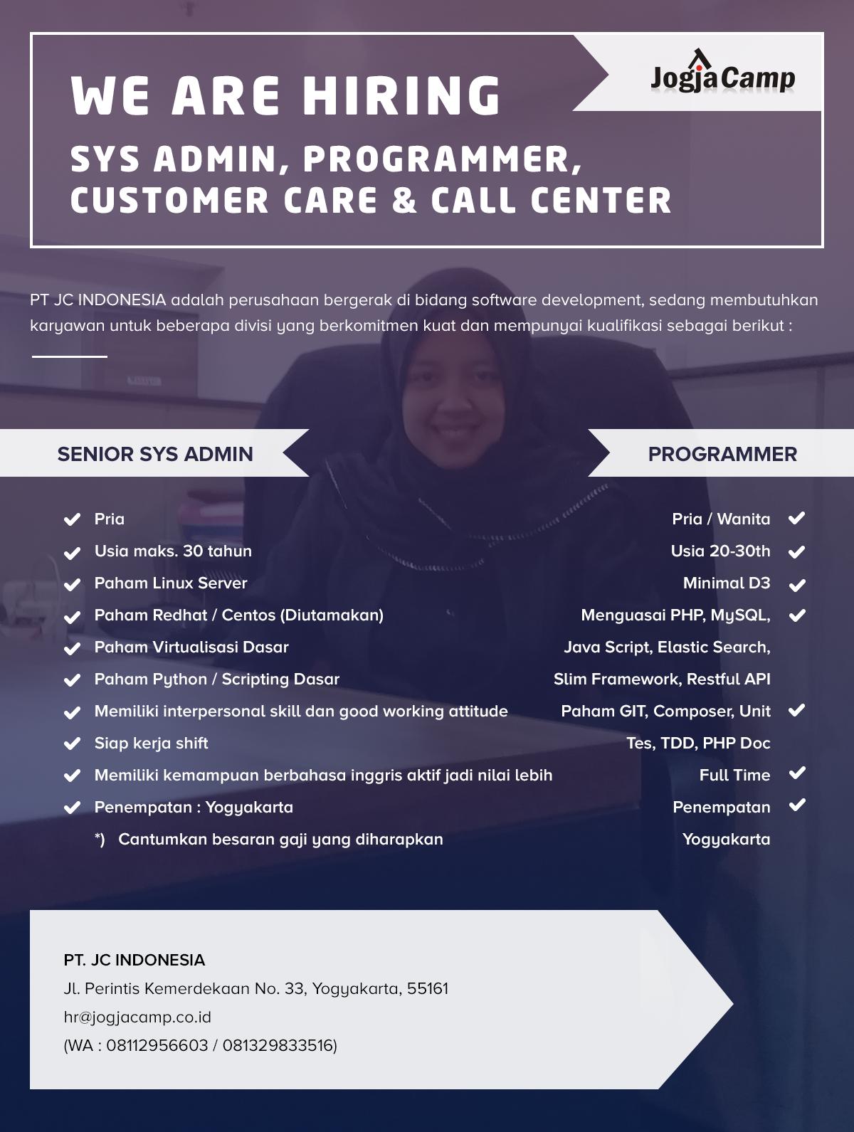 Jogjacamp Mencari Kamu Sys Admin Programmer Customer Care Call Center Apakah Itu Kamu Untuk Penempatan Yogyakarta Buruan Daf Linux Indonesia Gerak