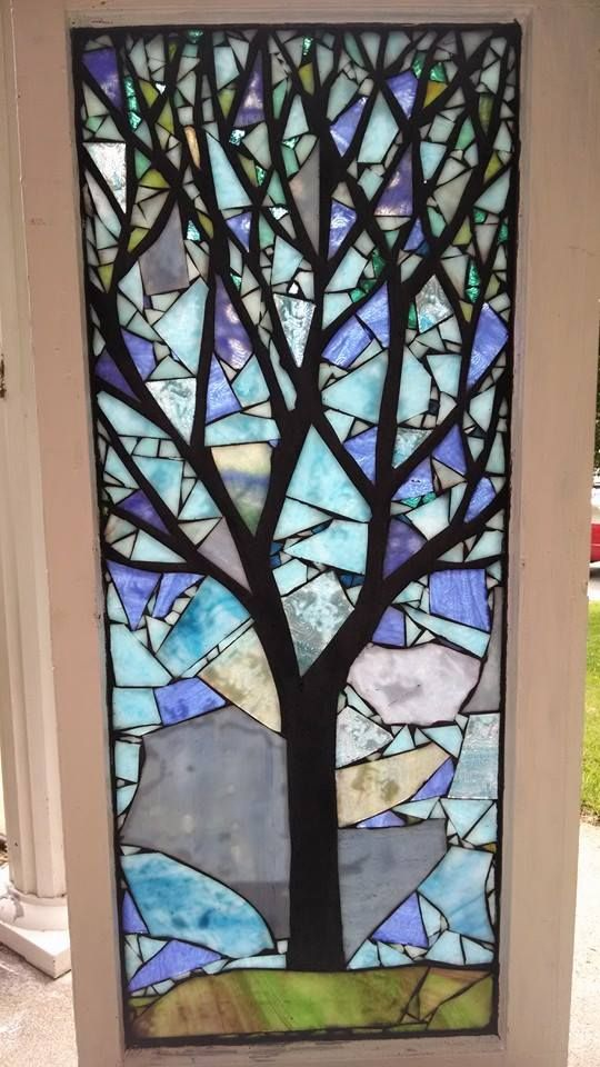 stained glass mosaic tree window by chanda froehle in louisville ky