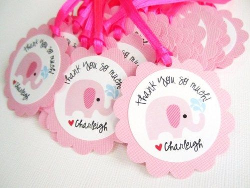Elephant Themed Baby Shower | Personalized Pink Elephant Favor Tags For Baby  Girl Shower Party .