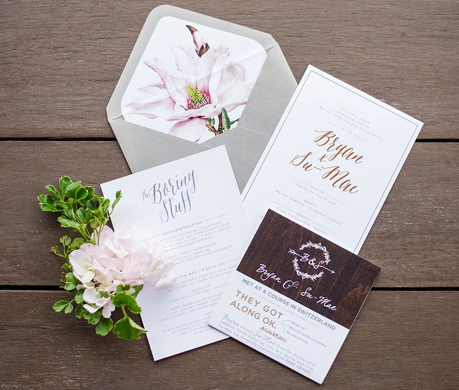 how to address couples on wedding invitations%0A Beautiful wedding stationery and pale pink boutonniere    Bryan and Su  Mae u    s focus for their