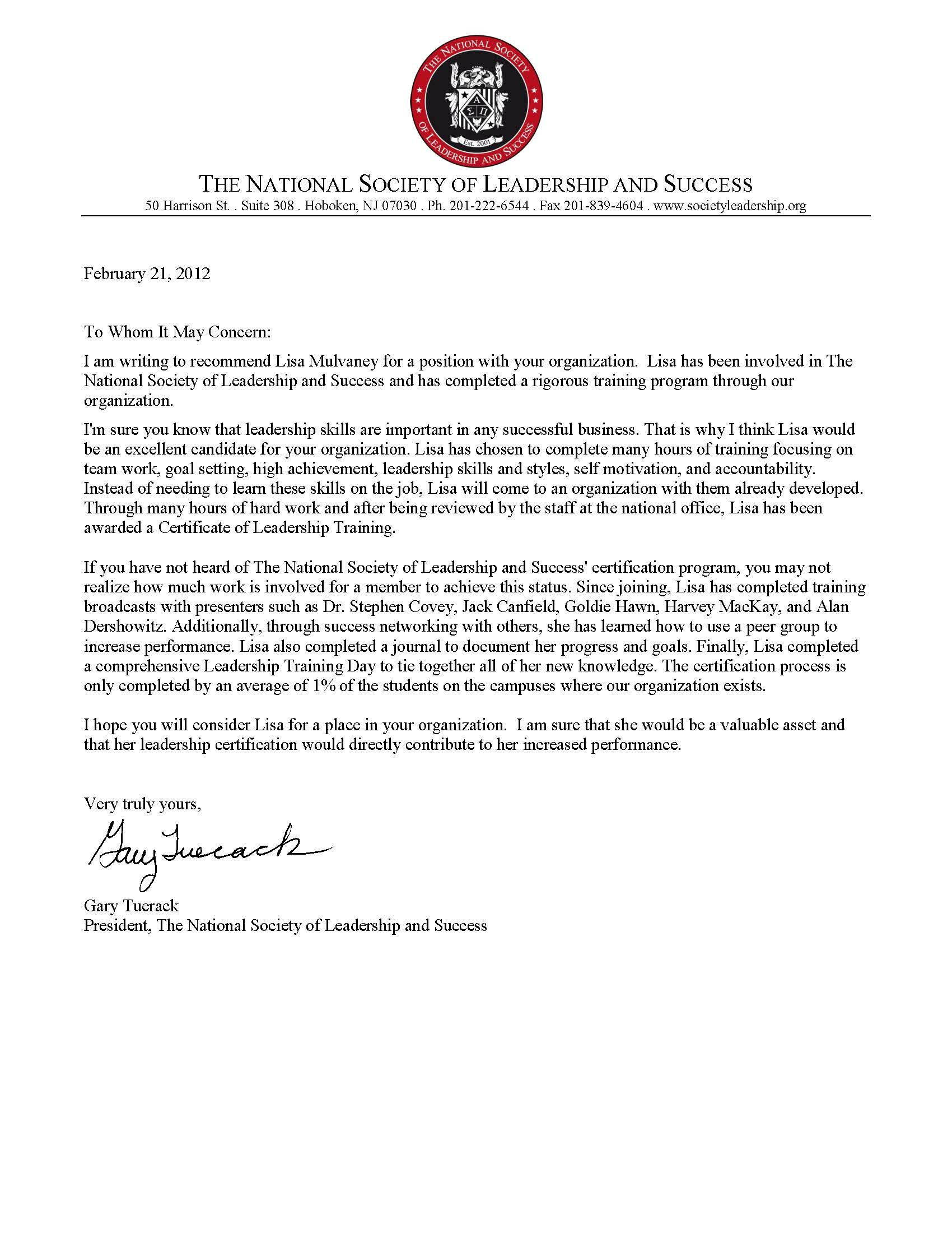 Letter of from The National Society of