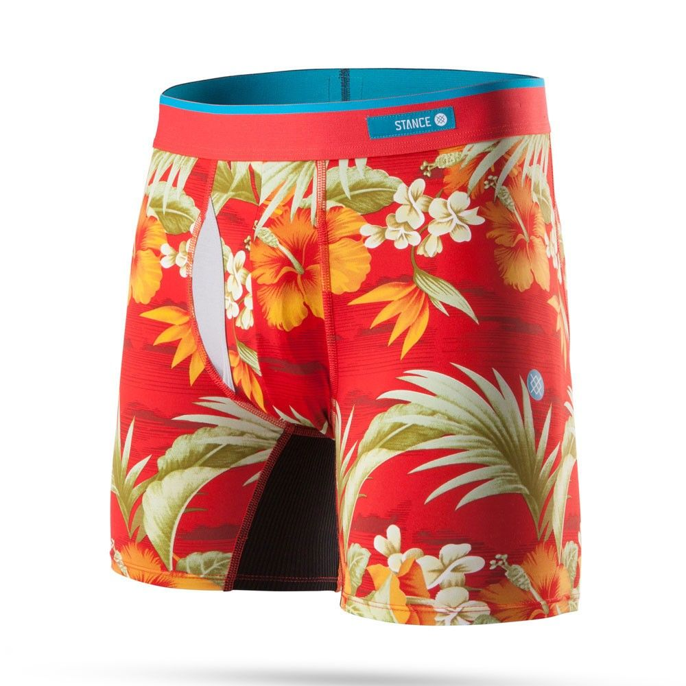 Mens Soft Breathable Red Hibiscus Tropical Floral Underwear Boxer Briefs