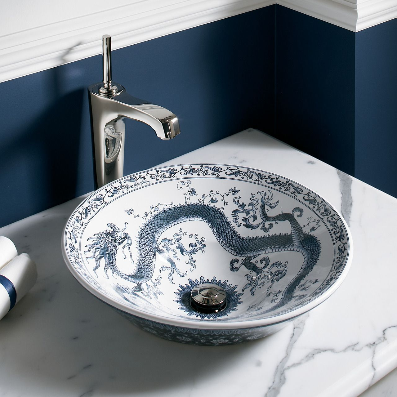 How Cool Is This Imperial Blue Chinese Dragon Sink By Kohler