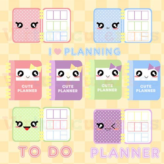 Kawaii Planner Clipart - Cute Planner Time, Printable Stickers, To ...