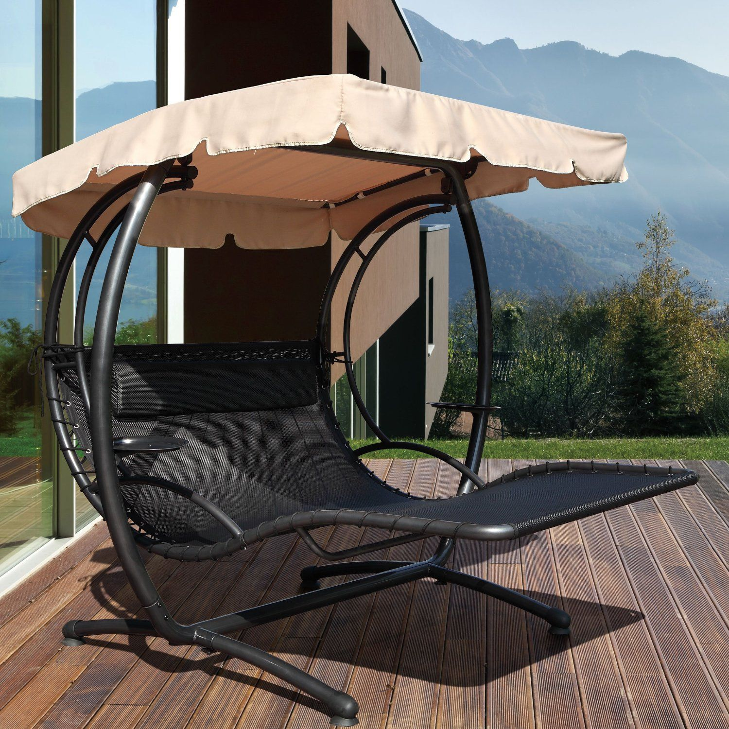 Jarder Two Seater Luxury Swing Seat Bed Sun Lounger Garden