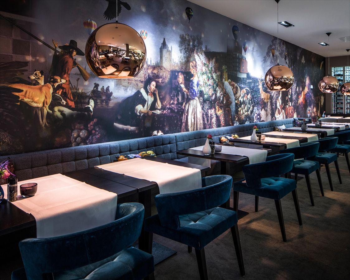 Restaurant in Van der Valk hotel in Zwolle, The Netherlands. Wall ...